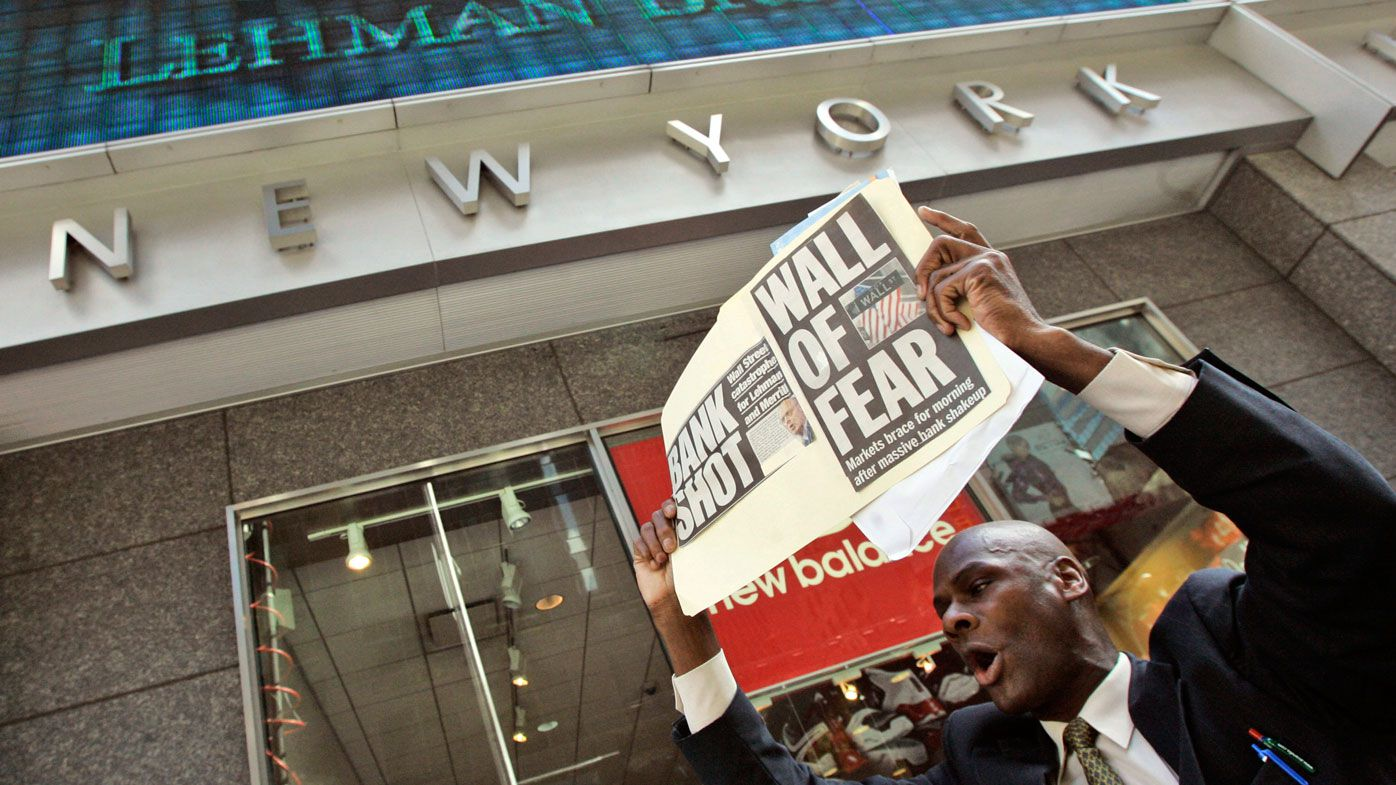 A man demonstrates outside the Lehman Brothers headquarters Monday, Sept. 15, 2008 in New York. (AAP)