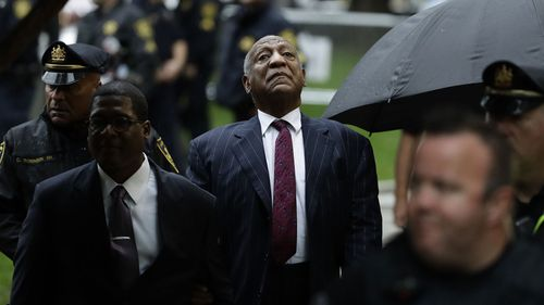 Bill Cosby outside court.