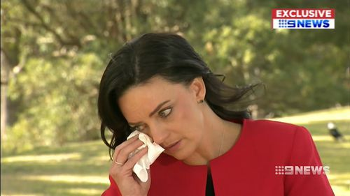 An emotional Emma Husar told 9NEWS' Chris O'Keefe yesterday that she won't recontest her seat of Lindsay at the next election. Picture: 9NEWS