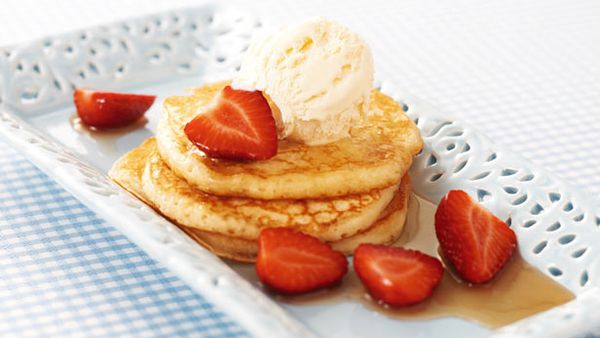 Buttermilk pancakes with maple-glazed strawberries