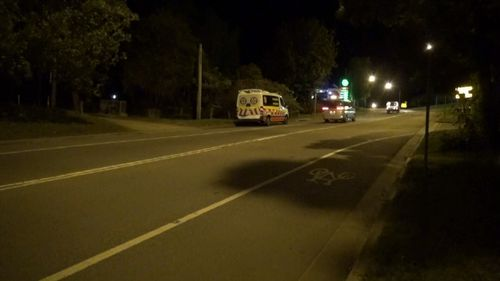 Ambulance crews at the scene of the hit and run last night.