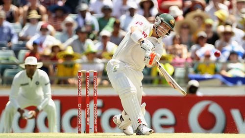 David Warner in action on his way to a dazzling century in Adelaide.