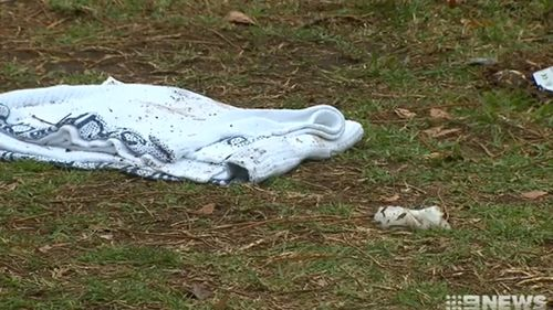 A 9NEWS image showing debris on the front yard, close to where Ramis Jonuzi died.
