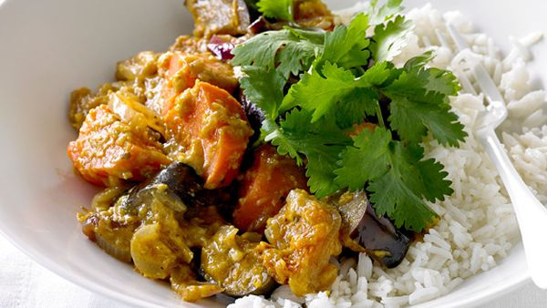 Eggplant and sweet potato curry with psyllium