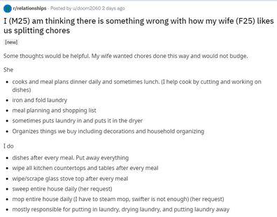 Couple chores split