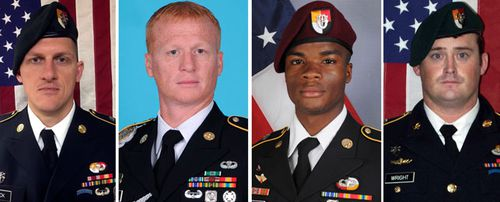 The four soldiers killed in the ambush:  Staff Sgt. Bryan C. Black, 35.; Staff Sgt. Jeremiah W. Johnson, 39; Sgt. La David Johnson; Staff Sgt. Dustin M. Wright, 29. (Photos: AP).