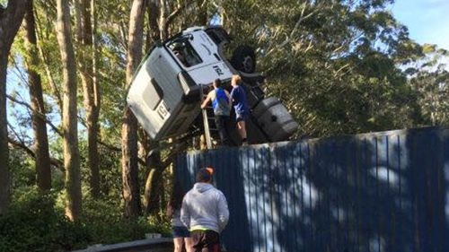 The truck roll-over closed the M1 this morning. (supplied)