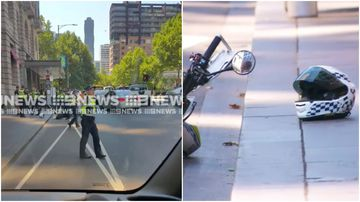 Moment driver flees after hitting policeman in CBD