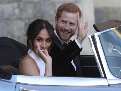 Prince Harry and Meghan Markle drive to their wedding reception.