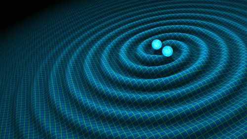 An undated handout graphic, made available in February 2016 by NASA / CALTECH-JPL, showing an artist's impression of gravitational waves generated by binary neutron stars. (AAP)