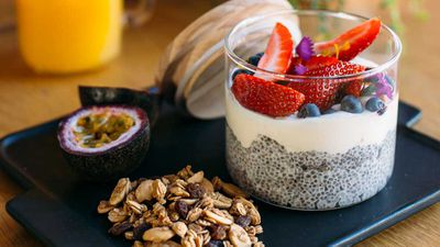"""Recipe: <a href=""""http://kitchen.nine.com.au/2017/07/07/15/07/wild-sages-chia-pudding-with-fresh-fruit"""" target=""""_top"""">Wild Sage's chia pudding with granola, yogurt and fresh fruit<br /> </a><br /> More: <a href=""""http://kitchen.nine.com.au/2016/06/06/23/15/ditch-dull-breakfasts-with-our-morning-favourites/"""" target=""""_top"""">nourishing breakfasts</a>"""
