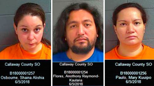 Shaina Osborne, 29; Anthony R.K. Flores, 32; and Mary K. Paulo, 34, were also charged Tuesday with making a false report of a missing person. (AP)