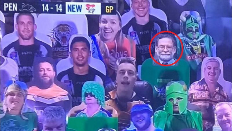 Infamous serial killer Dr Harold Shipman appears at NRL game as cardboard cutout