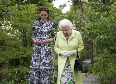 The Duchess pointed out features of her garden display at the show.