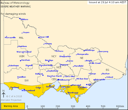 Winds peaking as high as 100km/h also descended upon Central, South West and West/South Gippsland districts in Victoria. Picture: BOM