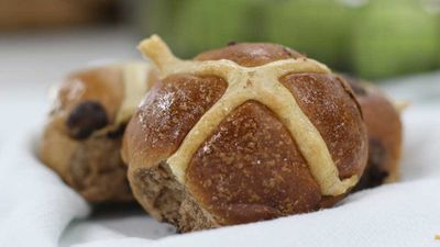 "<p><strong><a href=""http://www.gontrancherrier.com.au/"" target=""_top"">Gontran Cherrier</a></strong>, Collingwood's artisan boulangerie is serving up a range of  hot cross buns this year. Twists include macadamia and chocolate, chocolate and hazelnut, and cinnamon and raisin flavours.</p> <p>RRP - ½ dozen $19&nbsp;<br> <br> </p>"