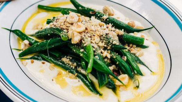 Green bean salad, almond cream, roasted hazelnuts by Massimo Mele