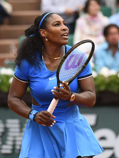 Serena Williams sported this bright blue number, which featured funky slits on either side of the waistline, when she defeated Teliana Pereira  at the 2016 French Open.