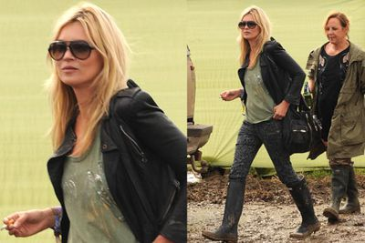 Dressed practically for a wet Glastonbury, Kate finds the right balance between comfy and stylish — totally rocking!<br/><br/><i>Kate Moss at Glastonbury Festival 2011 <br/>Image: Marc Larkin Photoshot LFI/Snappermedia</i>
