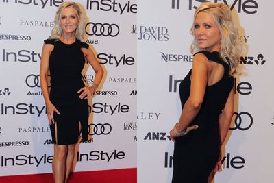 Perfect poser! Danielle Spencer looks taut and toned in a structured black number.