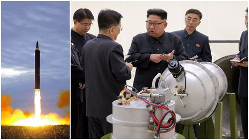 A photo (L)  distributed on Aug. 30, 2017, by the North Korean government shows what was said to be the test launch of a Hwasong-12 intermediate range missile in Pyongyang and (R) Kim Jong-un inspects a missile. (AAP)