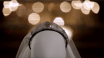 The tiara, loaned by Britain's Queen Elizabeth II, which held the five-meter-long veil in place with the wedding dress that Meghan wore on her wedding day.
