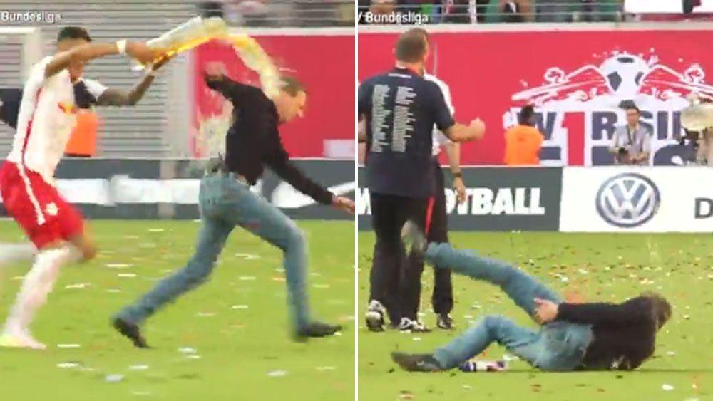 Football manager pulls hamstring fleeing team celebration