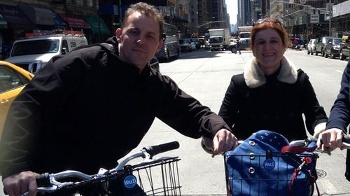 Karine Gombeau and her husband Bruno while on their trip in New York City. (Supplied)
