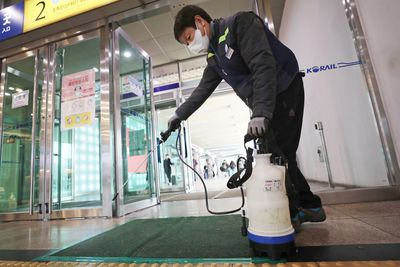 Staff member carries out disinfection procedure at Seoul