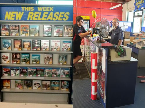 Store owner Chris Cucurullo serves a customer. When he bought the business the video rental store stocked just 7000 movies. Seven years later, Mr Cucurullo had built the library to more than 20,000 titles.