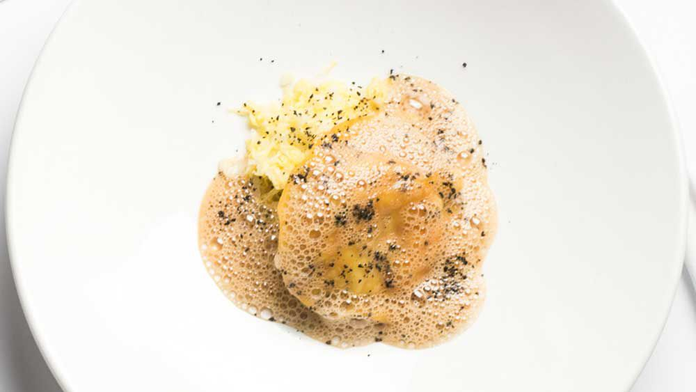 Ravioli of prawn, Chinese cabbage, foie gras butter. Image: Ben Varela for Bistro Moncur