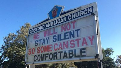 The Gosford Anglican Church mission statement - in sign form.