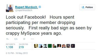 "<p>Murdoch warned Facebook that their metrics heralded a slump. It was, he said, the ""first really bad sign as seen by crappy Myspace years ago"". </p>  <p>That would be the ""crappy"" Myspace that his company paid $500 million for in 2006, only to sell it in 2012 for $35 million, less than a tenth of its purchase price.</p>"