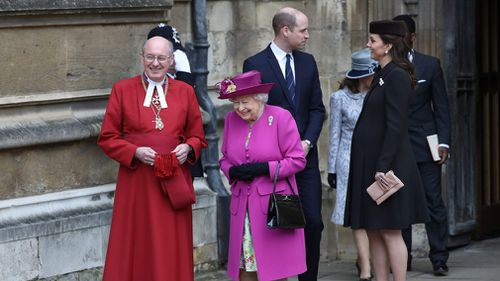 The Duke and Duchess of Cambridge and Queen Elizabeth II and the Dean of Windsor David Conner, leave following the Easter Mattins Service at St George's Chapel, Windsor Castle. (PA)