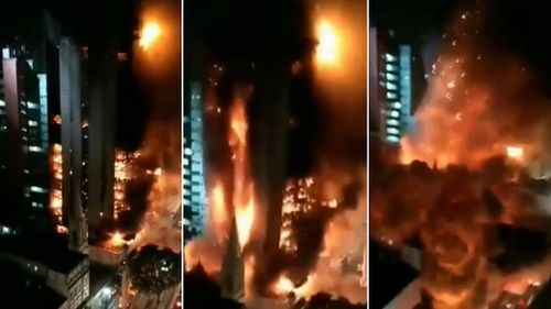 Horrified locals filmed the moment the building collapsed. (Supplied)