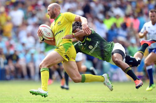 James Stannard in action against South Africa in the Sydney Sevens semi-final in February last year. Picture: AAP