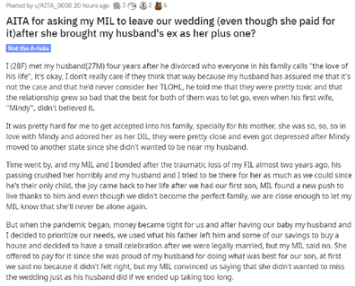 The bride has asked for advice on Reddit's Relationships thread.
