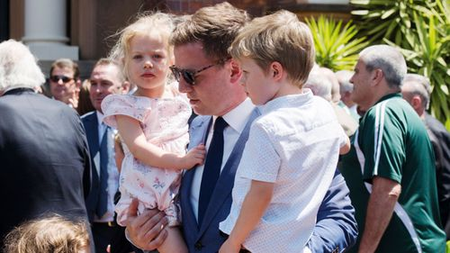 Ben Fordham at his father's funeral.