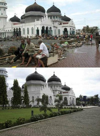Tsunami survivors resting in front of the Baitulrahman Mosque (top) on 26 December 2004 and a view of the same area on 16 December 2014 (bottom), in Banda Aceh, Indonesia. (EPA)