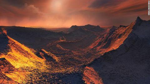 An artist's impression of the surface of Barnard's start b, a cold Super-Earth discovered orbting Narnard's start 6 light-years away.