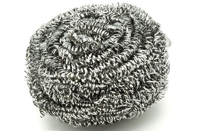 Scrub with steel wool