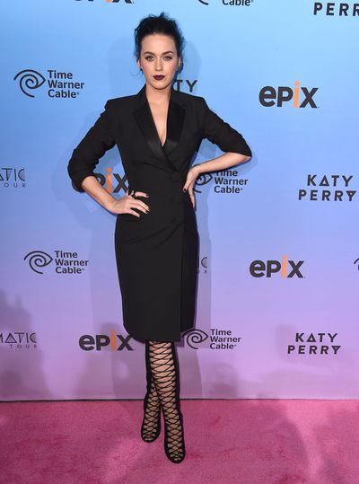 Katy Perry arrives at the World Premiere Of EPIX's 'Katy Perry: The Prismatic World Tour' at The Ace Hotel Theater on March 26, 2015 in Los Angeles