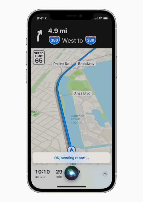 Maps users can now report an accident, hazard, or speed check by telling Siri on iPhone or CarPlay.