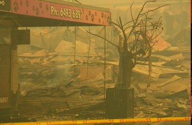 The small town was hard hit by a fast-moving fire that moved through on New Year's Eve.