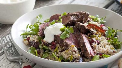 "Recipe:&nbsp;<a href=""http://kitchen.nine.com.au/2016/05/04/15/35/hayden-quinns-persian-lamb-with-pomegranate-pistachio-and-orange-couscous"" target=""_top"">Hayden Quinn's Persian lamb with pomegranate, pistachio and orange couscous</a>"