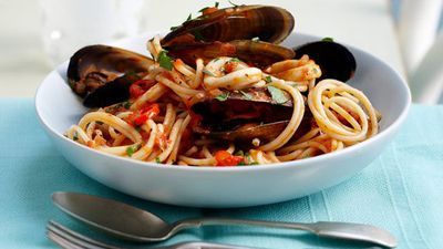 "Recipe:&nbsp;<a href=""http://kitchen.nine.com.au/2016/05/16/14/35/mussel-and-calamari-pasta"" target=""_top"">Mussel and calamari pasta</a>"