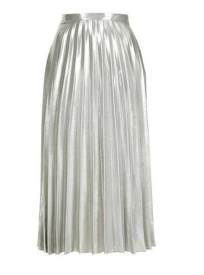 "<p><a href=""http://www.topshop.com/en/tsuk/product/tall-metallic-pleat-skirt-5785861?bi=0&ps=20&Ntt=midi%20skirt"" target=""_blank"">Topshop</a>silver pleated midi skirt, $116</p>"