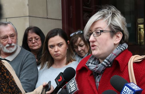 """Ms Borchardt's niece Carlie Smith spoke to reporters outside court today saying she's """"glad the court recognised Peter is a cold-blooded murderer""""."""
