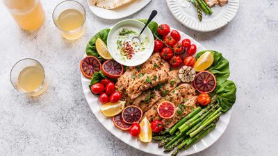 "Recipe: <a href=""http://kitchen.nine.com.au/2017/10/11/08/37/souvlaki-salmon-party-platter"" target=""_top"">Easy build your own souvlaki salmon party platter</a>"