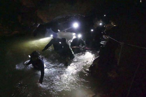 Heavy rains are approaching the Thailand caves where eight boys remain trapped. Picture: Supplied